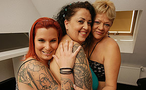 Three old and young lesbians getting wet and dissolute