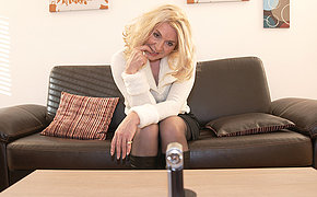 Blonde housewife masturbating more than the couch