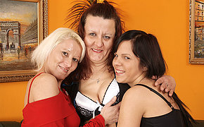 Two mature lesbians plot a hot babe