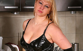 Hot blonde MILF playing thither herself