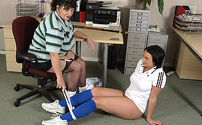 Big titted mom teasing her naughty teen student