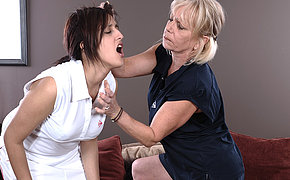 Naughty mature slut teaching her hot pupil a lesson