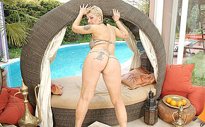 Horny blonde mature slut playing alone