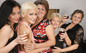 Five horny old with an increment of young lesbians make it special for Christmas