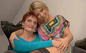 Two naughty old and young lesbians do it on the couch