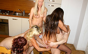 Four blistering sluts do one lucky dude