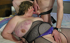 Fat mature lady getting fucked on her bounds