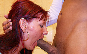 Deep throat cock sucking exceeding a public toilet