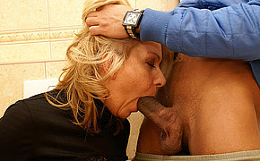 She licks ass fucks and sucks upstairs a public toilet