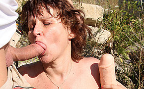 Hairy mature whore fucked in the open air