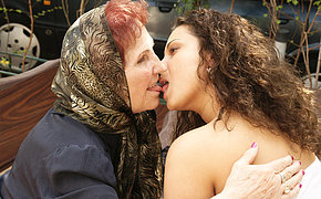 Horny old lady licking a hot babe