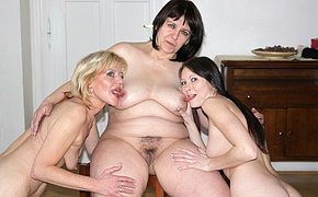 Two mature whores lez up a horny young babe