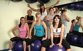 Mature ladies breaking up a sweat and getting naked