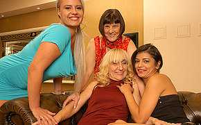 Four old and young lesbians having fun
