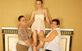 Three naughty old and young lesbians go wild on bed