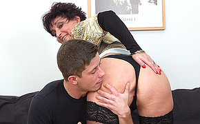 Horny mature lady fucking and sucking her younger lover
