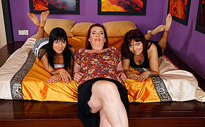Three old and young lesbians make out and getting wet