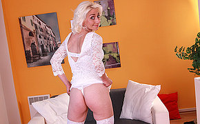 Horny blonde housewife playing with her dildo