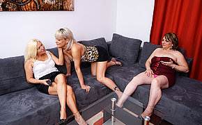 Three horny mature lesbians getting each other wet