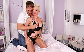 Kinky German missis sucks big cock and gets fucked hard