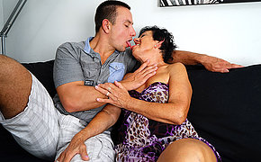 Horny grandma having fun with her toy boy