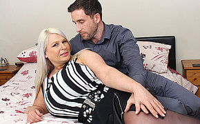 Huge breasted English mama fucking and sucking her ass off