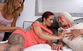 Three old and young lesbians make out with eachother