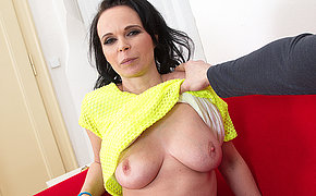 Horny mom playing with a hard cock