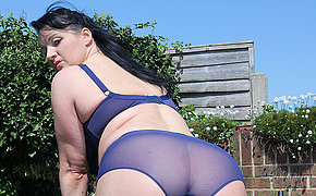 Hot British housewife masturbating outdoors