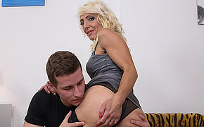 Horny blonde housewife doing her young lover
