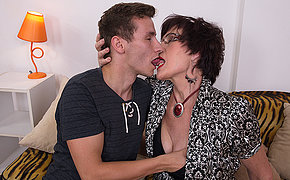 Horny granny sucks and fucks her toyboy