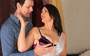 Horny Big breasted British MILF fucking and sucking