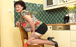 naughty chubby mature lady getting wet in her kitchen