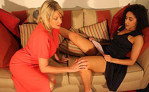 Naughty british babe doing a horny mature lesbian