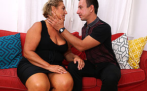 Chubby mature slut fucking her toy boy