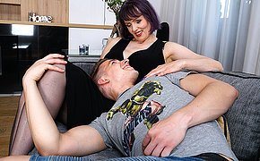 Naughty cougar Tigger loves to fool around with her toy boy