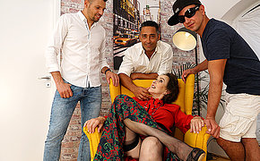 Mature Allison gets all her holes filled by three guys
