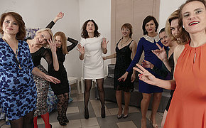 Nine horny women have a sex party and share one lucky guy
