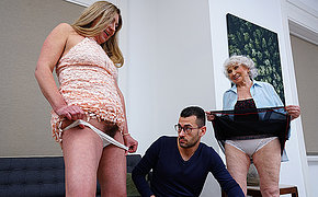 Young stud fucks horny granny and hairy missus in threesome