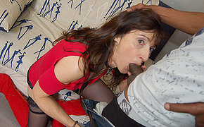 French Milf sucks a big black cock and takes it in her ass and pussy